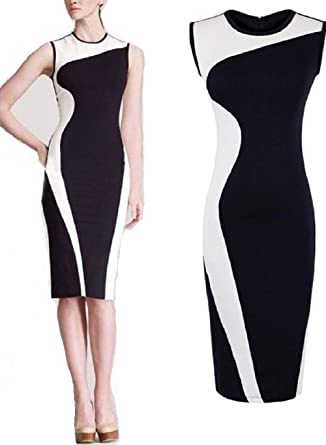 Image Unavailable. Image not available for. Color  Finejo by Vogue Style 95  Black White Color Block Dress for Women 7d60b2251c