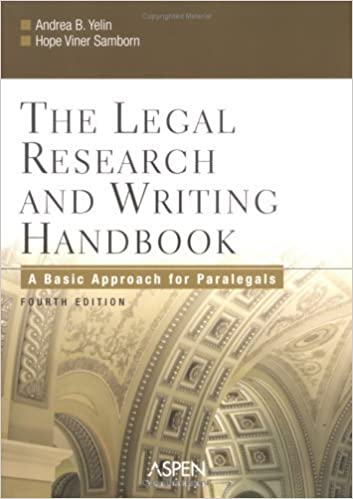 Book The Legal Research and Writing Handbook: A Basic Approach for Paralegals by Andrea B. Yelin (2005-12-01)