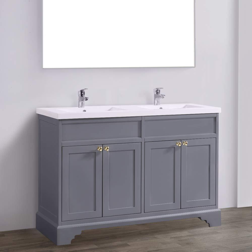 NRG 10mm Grey Traditional Floor Standing Bathroom Furniture Vanity Sink  Unit Storage Cabinet with Basin