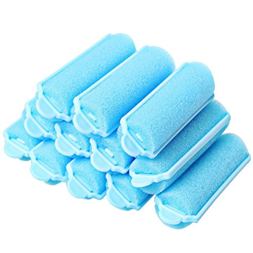 (12 Pieces Foam Hair Roller, Color Scissor Soft Pink Sponge Hair Curlers Bouncy Curls Style Tools Accessories Blue)