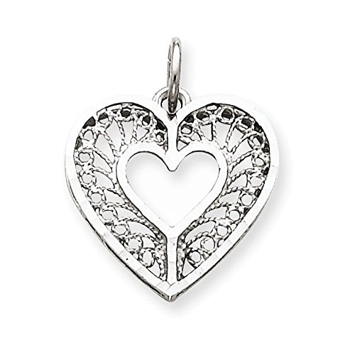 Jewelry Adviser Charms 14k White Gold Solid Diamond-cut Fancy Filigree Heart Charm