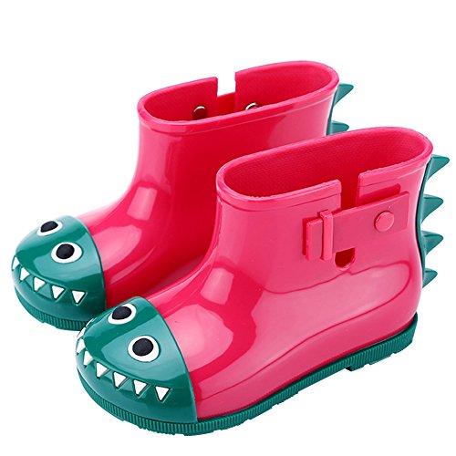 Mädchen Jungen Gummistiefel Kinder Kurzschaft Regenstiefel Kuschelige Cartoon Kinderstiefel Baby Wasserdicht Stiefel Rain Boots Rot Krokodil