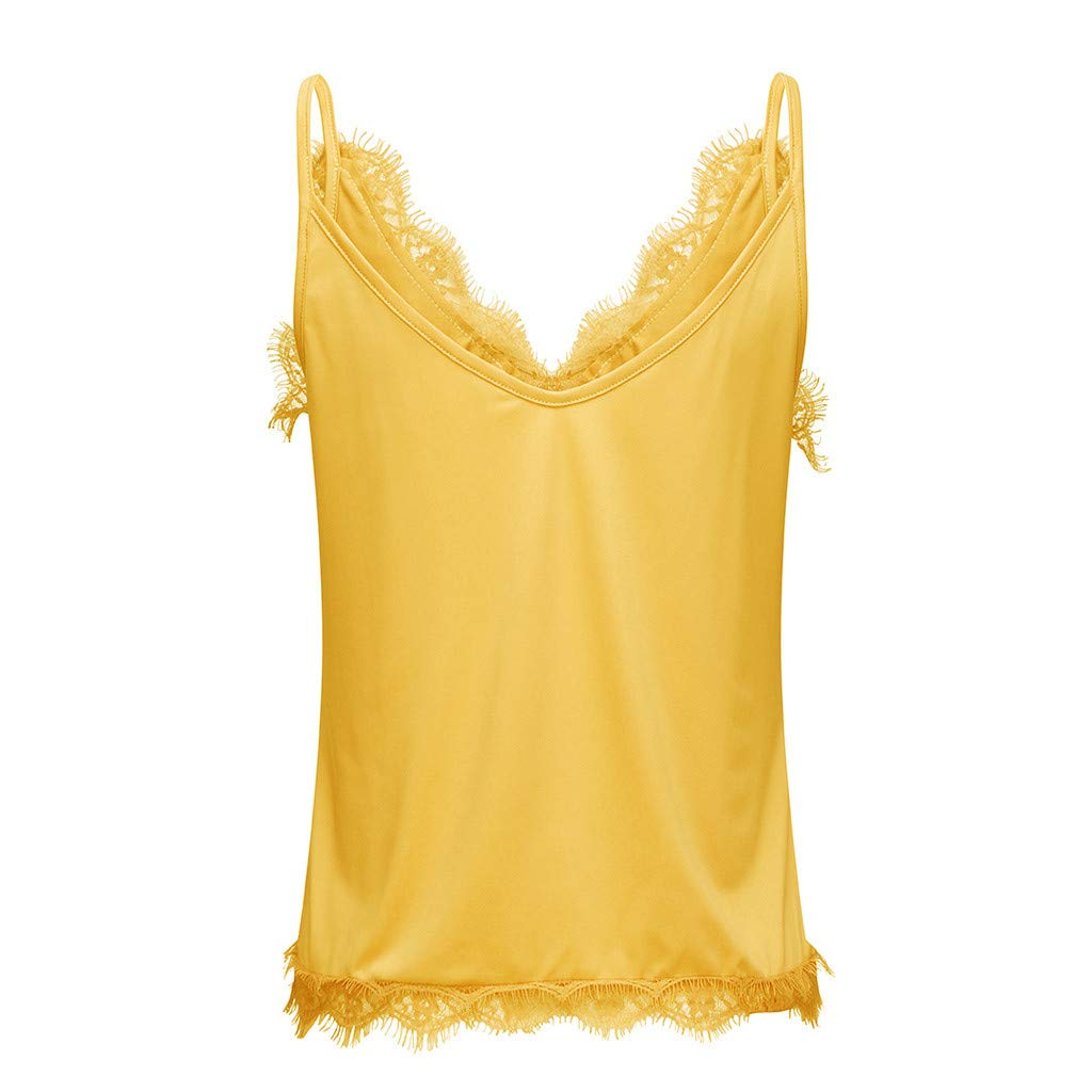 Bohelly Selling Womens Summer Casual V Neck Lace Cami Tank Tops Fashion Strappy Sleeveless Blouses and Shirts