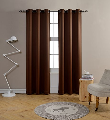 Mysky Home Solid Grommet top Thermal Insulated Window Blackout Curtain for Nursery Room, 42 by 84 inch, Brown (1 panel)