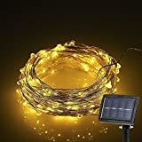 Lightess Solar String Lights 150 LED Fairy Starry Copper Wire LED String Light Ambiance Lighting for Outdoor Christmas Party Wedding, Warm White