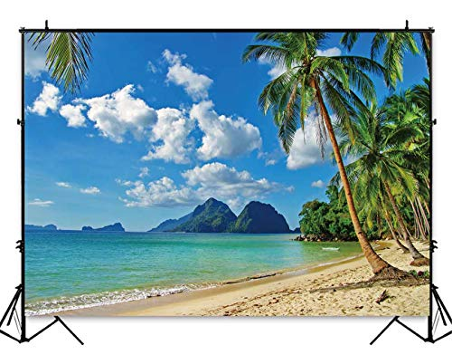 Funnytree 8x6ft Durable Fabric Summer Tropical Beach Backdrop No Wrinkles Seaside Island Palm Trees Photography Background Blue Sea Sky Luau Themed Party Decorations Photo Booth Studio Props -