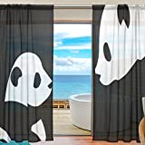 SEULIFE Window Sheer Curtain, Cute Animal Panda Black Voile Curtain Drapes for Door Kitchen Living Room Bedroom 55x78 inches 2 Panels