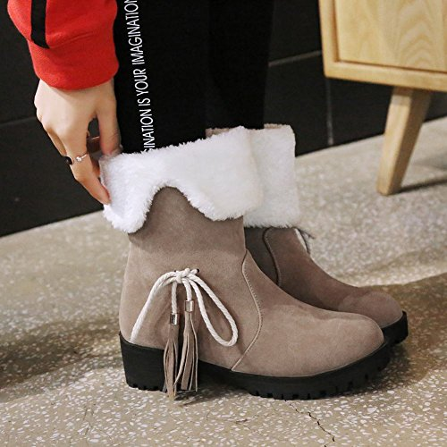 Pull Faux Warm Bowknots Tassels Apricot Boots Fur On Winter Carolbar Womens UXqwR74