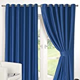Dreamscene Luxury Ring Top Fully Lined Pair Thermal Blackout Eyelet Curtain Blue 90 x 54 by Dreamscene