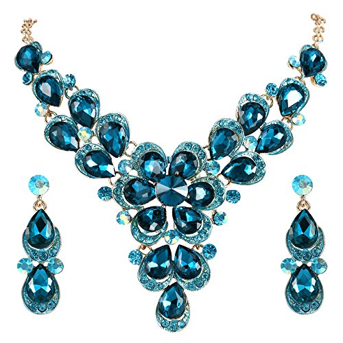 BriLove Women's Wedding Bridal Statement Necklace Dangle Earrings Jewelry Set with Crystal Teardrop Shape Petal Flower Blue Topaz Color Gold-Tone
