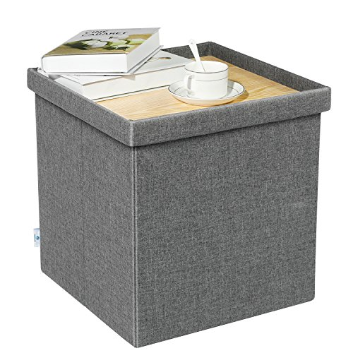 B FSOBEIIALEO Storage Ottoman with Tray, Linen Small Coffee Table Folding Foot Rest Seat Cube, Dark Grey ()