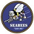 "US Navy Seabees Seal Can Do Logo car bumper sticker window decal 4"" x 4"" by Ride in Style"