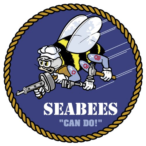 (Ride in Style US Navy Seabees Seal Can Do Logo car Bumper Sticker Window Decal 4