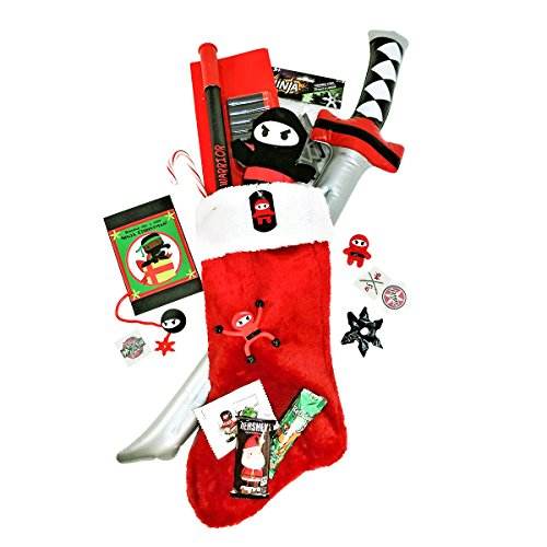 Cheeky Monkeey Wishing You a Very Ninja Christmas Stuffed Themed Gift Stocking with Candy and Toys