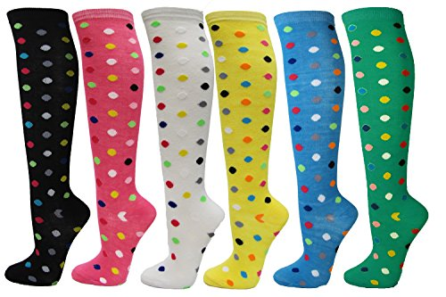 Dots Knee High - Polka Dots Ladies Colorful Variety Design Assorted Knee High Stocking Socks(6 Pairs)