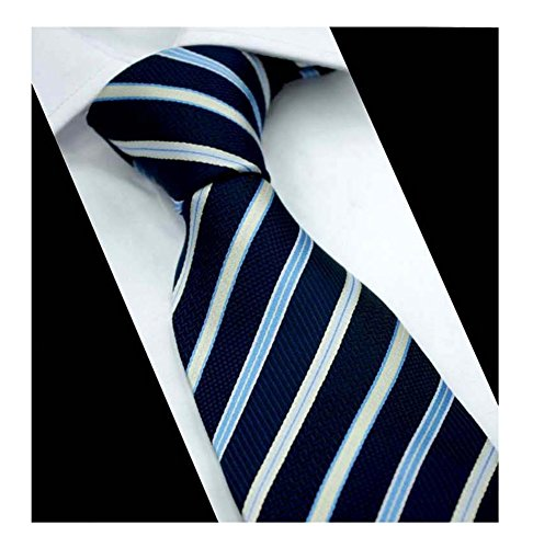 Mens Navy Blue Stripe Jacquard Woven Tie Texture Microfiber Italian Silk Necktie ()