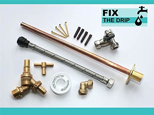 Outside Tap Kit Vandle Proof DIY Professional finish 355 mm through the wall Flange [GT3b] by FixtheDrip