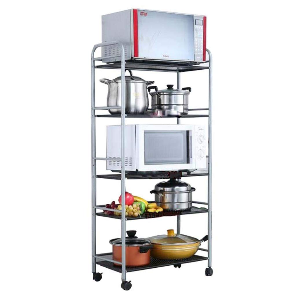 HUYYA Kitchen Storage Shelf Unit Rack Standing, Stand Storage Cart Utility 5-Tier Pantry/Bakers Microwave Rack Plenty of Storage Space,Black_L:20in