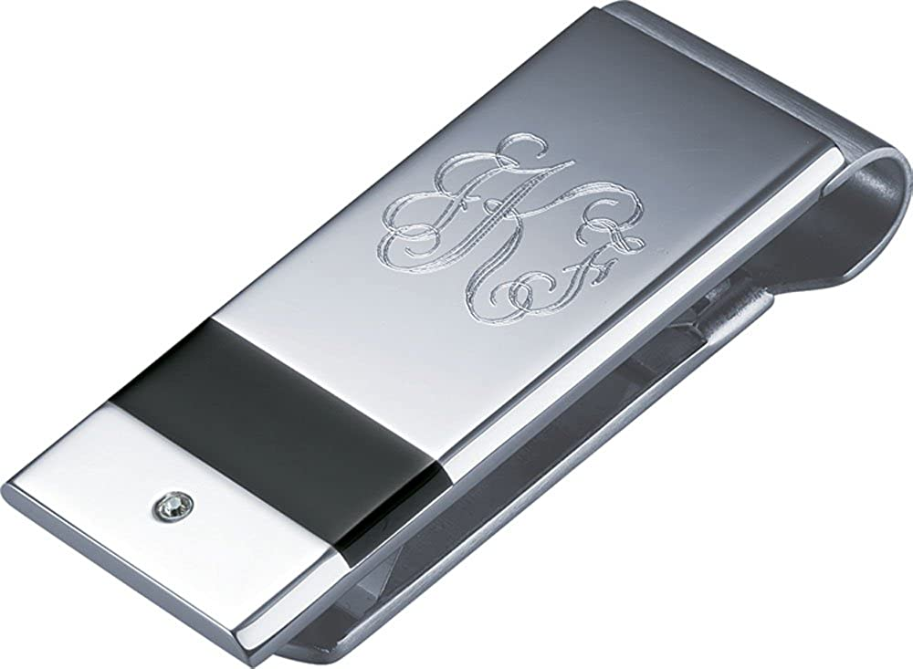Personalized Visol Dante Crystal Inlaid Money Clip with Free Engraving
