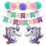 Unicorn Birthday Decorations Party Supplies 34inch Foil Balloons Glitter Happy Birthday Banner with Slumber Face Tissue Paper Pom Poms Kit (Lavender)