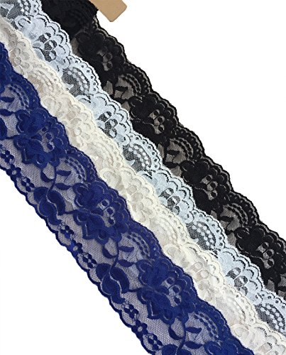 Noble Scallop (Lace Realm 3.15Inches Wide Stretch Floral Pattern Lace Ribbon Trim Lace for Headbands Garters & Crafts Variety Pack Mix Colors Grab Bag As pictured 4 Colors 3 Yards Each)
