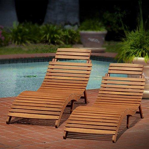 Acacia Wood Chaise Lounge - 8