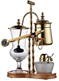 Diguo Gen-2 Belgium / Belgian Luxury Royal Balancing Siphon Coffee Maker. Ridged Fulcrum, T-Handle, Wooden Base, Easy to Clean Take Apart Water Retainer and Permanent Filter. Color: Yellow Gold