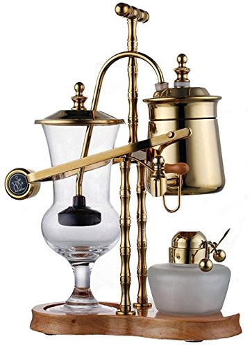 Diguo Gen-2 Belgium / Belgian Luxury Royal Balancing Siphon Coffee Maker. Ridged Fulcrum, T-Handle, Wooden Base, Easy to Clean Take Apart Water Retainer and Permanent Filter. Color: Yellow Gold by Diguo