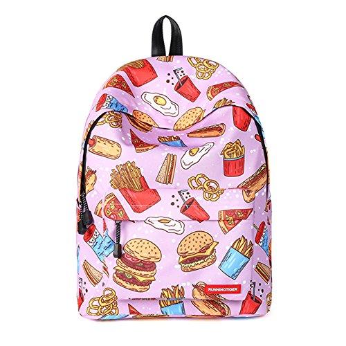 (Amint Women's Cute Hamburger Pattern Backpack Rucksack School Bookbag)