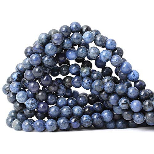 CHEAVIAN 45PCS 8mm Natural Dumortierite Gemstone Round Loose Stone Beads for Jewelry Making Crafts Design 1 Strand 15