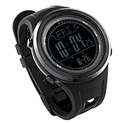 SunRoad FR802C Outdoor Mens Sports Alitimeter Watch-Stopwatch Barometer Compass Pedometer Multifunction Casual LED Display Wristwatch