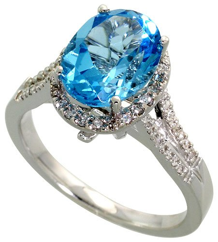 14k White Gold Ring, w/ 0.23 Carat Brilliant Cut Diamonds & 2.22 Carats Oval Cut Blue Topaz Stone, 7/8 in. (11mm) wide, size 7.5 by Silver City Jewelry