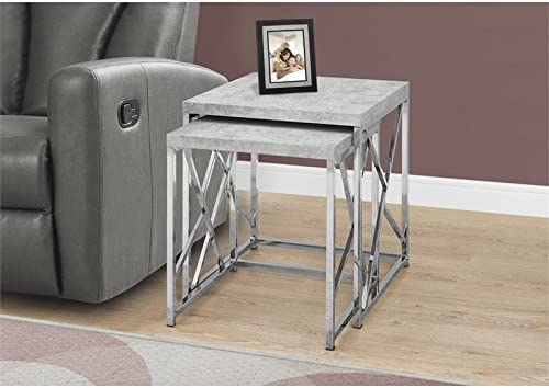 Natural Greige 2 Piece Nesting Table Set in Gray