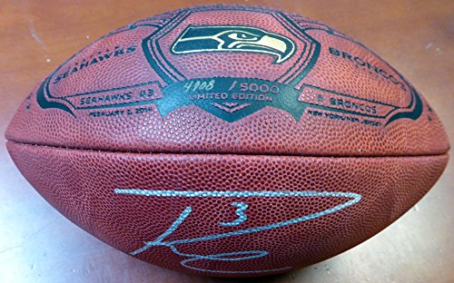 Russell Wilson Autographed Limited Edition SB Leather Football Seattle Seahawks RW Holo Stock #105019