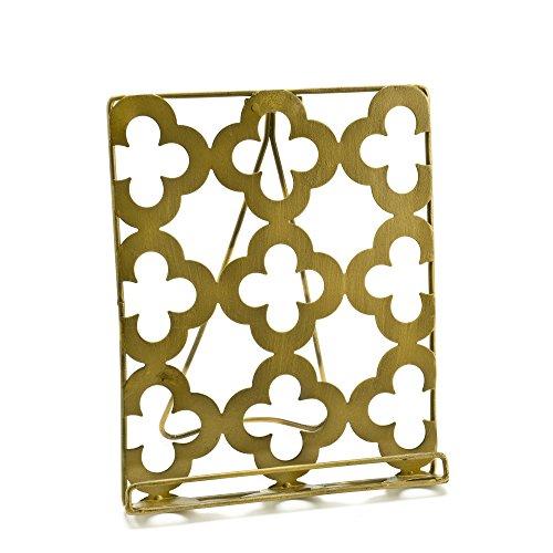 Quatrefoil Gold-colored Metal Tablet Holder