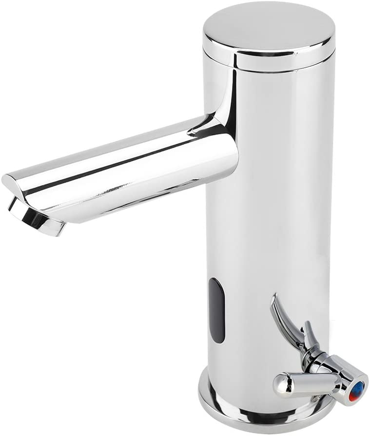 Brass Single Handle Basin Faucet Mixer Tap Waterfall Vanity Sink Faucet Assembly AUTO Infrared Sensor Hot and Cold for Bathroom Bath Basin Faucet