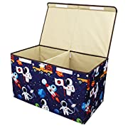 Softcloudy Toy Chest, XX-Large Organizer Storage Bin/Box/Baskets with Lid and Side Handles for Baby Clothing, Kids Shoes, Stuffed Animal, Best Gift for Child (Astronaut)