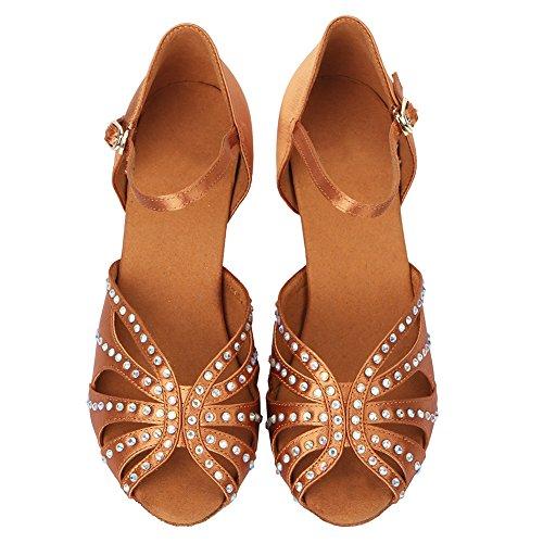 de Mujer salón Marrón Diamantes Zapatos de Modelo Punta Baile Abierta de HIPPOSEUS ESAF435 imitación zqd6wOz