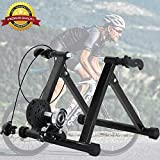 Dkeli Bike Trainer Stand, Magnetic Exercise Cycling Indoor Stationary Bicycle Trainer Stand for Indoor Riding 5 Levels Resistance Portable Road Bike Trainer Machine with Noise Reduction Wheel