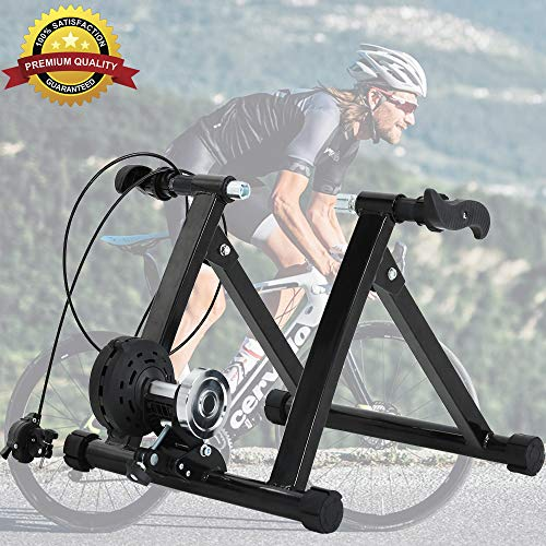Dkeli Bike Trainer Stand, Magnetic Exercise Cycling Indoor Stationary Bicycle Trainer Stand for Indoor Riding 5 Levels Resistance Portable Road Bike Trainer Machine with Noise Reduction Wheel (Black)