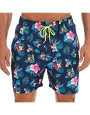 ZWRJDOMUM Men's Swim Trunks Quick Dry Beach Board Shorts with Pockets (FBA)