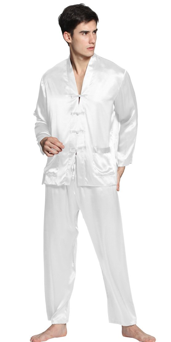 LILYSILK Silk Pajamas Set for Men 22 Momme Long Sleeve Exotic Buttoned Soft Luxury 100 Mulberry Silk White S