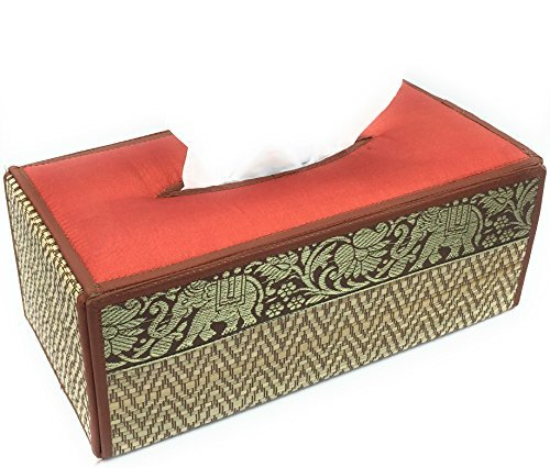 WD store FB-06-Handmade Thai Woven Straw natural Reed Rectangular Tissue Box Cover with Silk Elephant Design 5x3.7x10.2 Inch by WD store