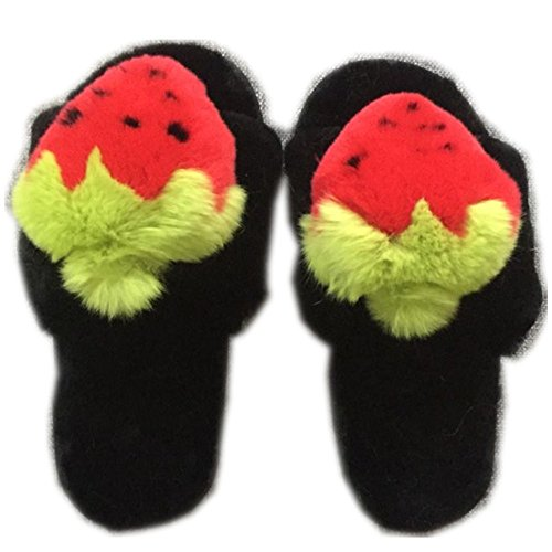 Soles Shoes Luxury Indoor Rabbit Flat Soft Slippers Womens Strawberry Outdoor Slides qmfur Fur Real Red 7qHvnt5