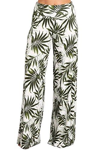 (HEYHUN Plus Size Womens Printed Tie Dye Solid Wide Leg Bottom Boho Hippie Lounge Palazzo Pants - Green White - 2XL)