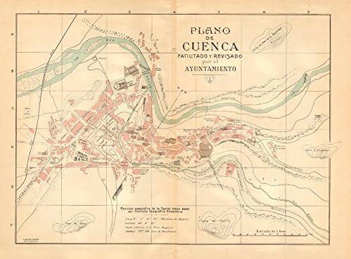 Cuenca. Plano Antiguo de la cuidad. Antiguo Ciudad/ciudad Plan. Martin – C1911 – Old Antiguo Mapa Vintage – Mapas de Impreso de España: Amazon.es: Hogar