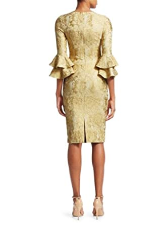 e36814a82a Theia Women s Ruffled Sleeve Cocktail Dress 16 Yellow at Amazon Women s  Clothing store