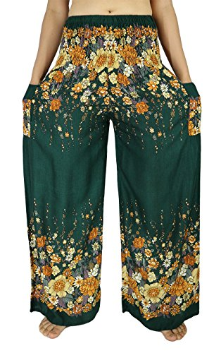 [Lek Boutique Womens Flower Art Print Harem Trousers Hippie Boho Harem Palazzo Pants Smocked Waist 21-38 Inchs with 2 Pockets 100% Rayon US Size 0-12 (AF] (Old Navy Halloween Costumes Elephant)