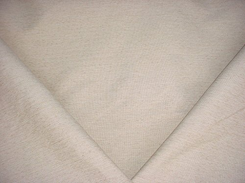 26H5 - White / Gold Basketweave Check Linen Designer Upholstery Drapery Fabric - By the -