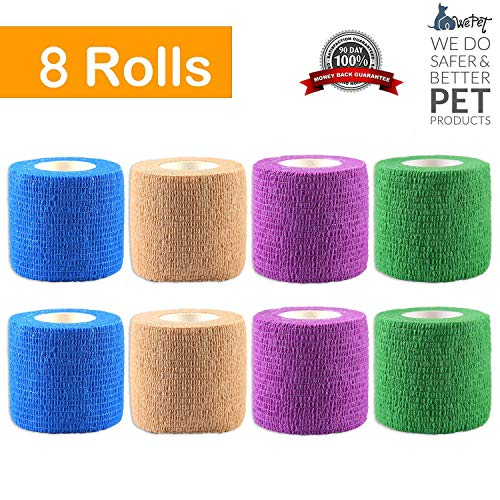 WePet Original Vet Wrap Self Adhesive Gauze, Cohesive Bandage for Animals, Adherent Wrap for Prairie Horse Dogs Cats & Animal use Supply for Vetwrap Tape First Aid Adhering Stick Bandage, -